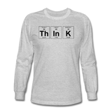 """ThInK"" (black) - Men's Long Sleeve T-Shirt heather gray / S - LabRatGifts - 2"