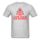 """Keep Calm and Love Your Lab Worker"" (red) - Men's T-Shirt heather gray / S - LabRatGifts - 3"