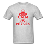"""Keep Calm and Love Physics"" (red) - Men's T-Shirt heather gray / S - LabRatGifts - 3"