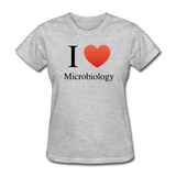 """I ♥ Microbiology"" (black) - Women's T-Shirt heather gray / S - LabRatGifts - 2"