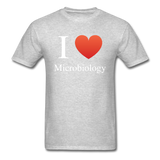 """I ♥ Microbiology"" (white) - Men's T-Shirt heather gray / S - LabRatGifts - 11"