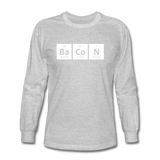 """BaCoN"" - Men's Long Sleeve T-Shirt heather gray / S - LabRatGifts - 3"