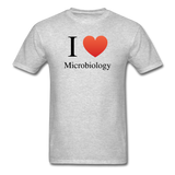 """I ♥ Microbiology"" (black) - Men's T-Shirt heather gray / S - LabRatGifts - 3"
