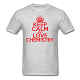 """Keep Calm and Love Chemistry"" (red) - Men's T-Shirt heather gray / S - LabRatGifts - 3"
