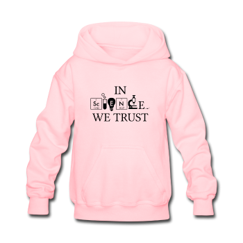 """In Science We Trust"" (black) - Kids' Sweatshirt pink / S - LabRatGifts - 1"