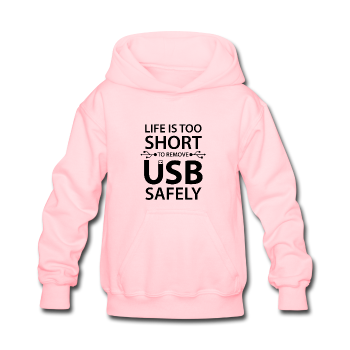 """Life is too Short"" (black) - Kids' Sweatshirt pink / S - LabRatGifts - 1"