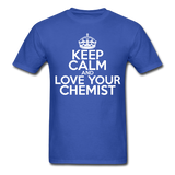 """Keep Calm and Love Your Chemist"" (white) - Men's T-Shirt royal blue / S - LabRatGifts - 3"