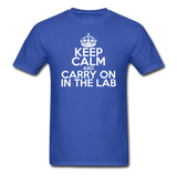 """Keep Calm and Carry On in the Lab"" (white) - Men's T-Shirt royal blue / S - LabRatGifts - 3"