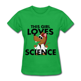 """This Girl Loves Science"" (red) - Women's T-Shirt bright green / S - LabRatGifts - 8"