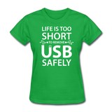 """Life is too Short"" (white) - Women's T-Shirt bright green / S - LabRatGifts - 7"