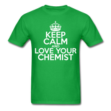 """Keep Calm and Love Your Chemist"" (white) - Men's T-Shirt bright green / S - LabRatGifts - 2"