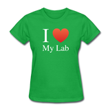 """I ♥ My Lab"" (white) - Women's T-Shirt bright green / S - LabRatGifts - 6"