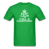 """Keep Calm and Call A Phlebotomist"" (white) - Men's T-Shirt bright green / S - LabRatGifts - 2"