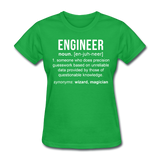 """Engineer"" (white) - Women's T-Shirt bright green / S - LabRatGifts - 7"