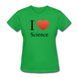 """I ♥ Science"" (black) - Women's T-Shirt bright green / S - LabRatGifts - 7"
