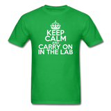 """Keep Calm and Carry On in the Lab"" (white) - Men's T-Shirt bright green / S - LabRatGifts - 2"