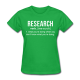 """Research"" (white) - Women's T-Shirt bright green / S - LabRatGifts - 7"