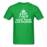 """Keep Calm and Love Your Lab Worker"" (white) - Men's T-Shirt bright green / S - LabRatGifts - 2"