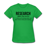 """Research"" (black) - Women's T-Shirt bright green / S - LabRatGifts - 7"