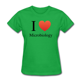 """I ♥ Microbiology"" (black) - Women's T-Shirt bright green / S - LabRatGifts - 7"