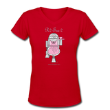 """R2-Tea-2"" - Women's V-Neck T-Shirt red / S - LabRatGifts - 5"