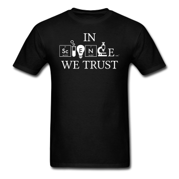 """In Science We Trust"" (white) - Men's T-Shirt black / S - LabRatGifts - 1"