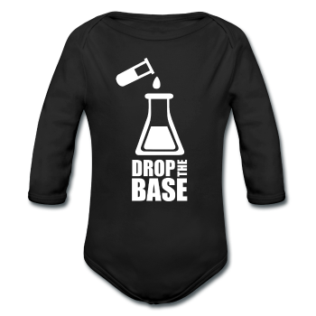 """Drop the Base"" - Baby Long Sleeve One Piece black / 6 months - LabRatGifts - 1"