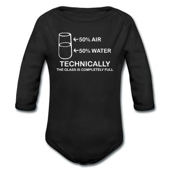 """Technically the Glass is Fully"" - Baby Long Sleeve One Piece black / 6 months - LabRatGifts"
