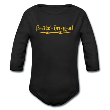 """Bazinga!"" - Baby Long Sleeve One Piece black / 6 months - LabRatGifts - 1"