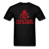 """Keep Calm and Love Your Lab Worker"" (red) - Men's T-Shirt black / S - LabRatGifts - 13"