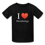 """I ♥ Microbiology"" (white) - Kids' T-Shirt black / XS - LabRatGifts - 1"