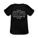 """Skeleton Inside Me"" - Baby Lap Shoulder T-Shirt black / Newborn - LabRatGifts - 1"