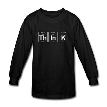 """ThInK"" (white) - Kids' Long Sleeve T-Shirt black / XS - LabRatGifts - 1"