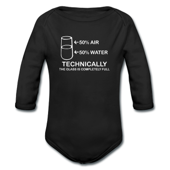 """Technically the Glass is Full"" - Baby Long Sleeve One Piece black / 6 months - LabRatGifts"
