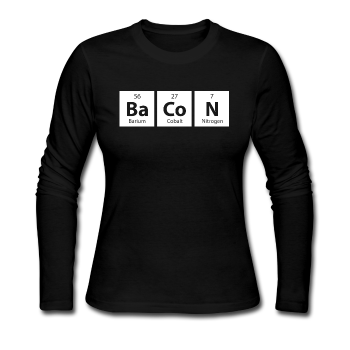 """BaCoN"" - Women's Long Sleeve T-Shirt black / S - LabRatGifts - 1"