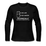 """Technically the Glass is Full"" - Women's Long Sleeve T-Shirt black / S - LabRatGifts - 2"