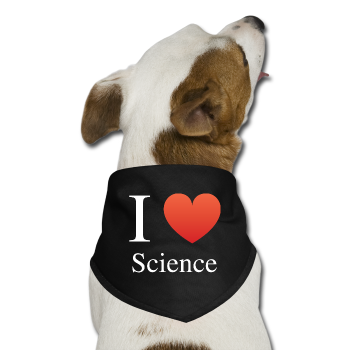"""I ♥ Science"" (white) - Dog Bandana black / One size - LabRatGifts"