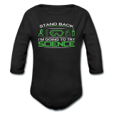 """Stand Back"" - Baby Long Sleeve One Piece black / 6 months - LabRatGifts - 1"