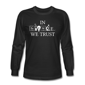 """In Science We Trust"" (white) - Men's Long Sleeve T-Shirt black / S - LabRatGifts - 1"