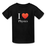 """I ♥ Physics"" (white) - Kids' T-Shirt black / XS - LabRatGifts - 1"