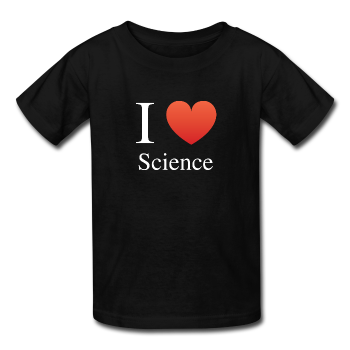 """I ♥ Science"" (white) - Kids' T-Shirt black / XS - LabRatGifts - 1"