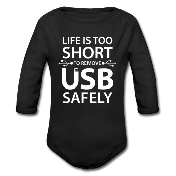 """Life is too Short"" (white) - Baby Long Sleeve One Piece black / 6 months - LabRatGifts - 1"