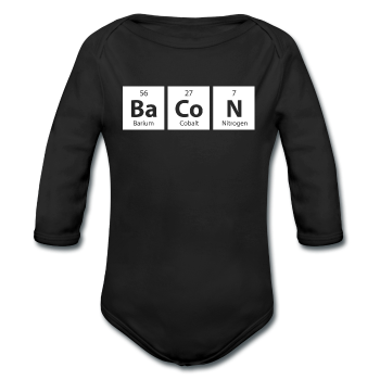 """BaCoN"" - Baby Long Sleeve One Piece black / 6 months - LabRatGifts - 1"