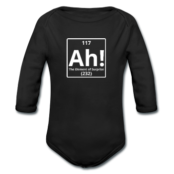 """Ah! The Element of Surprise"" - Baby Long Sleeve One Piece black / 6 months - LabRatGifts"