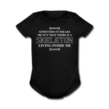 """Skeleton Inside Me"" - Baby Short Sleeve One Piece black / Newborn - LabRatGifts - 1"