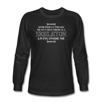 """Skeleton Inside Me"" - Men's Long Sleeve T-Shirt black / S - LabRatGifts - 1"