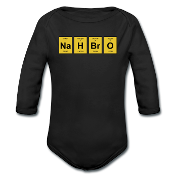 """NaH BrO"" - Baby Long Sleeve One Piece black / 6 months - LabRatGifts - 1"