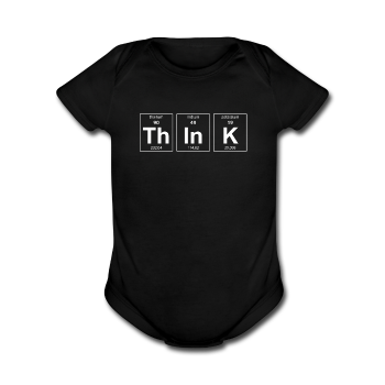 """ThInK"" (white) - Baby Short Sleeve One Piece black / Newborn - LabRatGifts - 1"