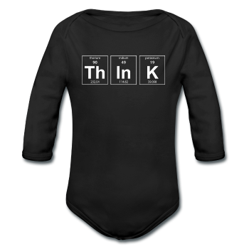 """ThInK"" (white) - Baby Long Sleeve One Piece black / 6 months - LabRatGifts"