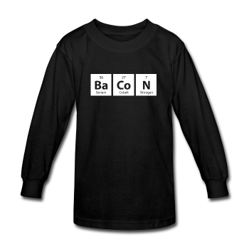 """BaCoN"" - Kids' Long Sleeve T-Shirt black / XS - LabRatGifts - 1"